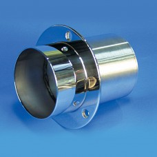 "EXHAUST TIP STAINLESS STEEL SHORT STRAIGHT CUT END/STRAIGHT MOUNT FLANGE 4""W/FLAP"