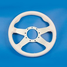 GRANT 9 BOLT STEERING WHEEL WHITE COVER/SILVER SPOKES