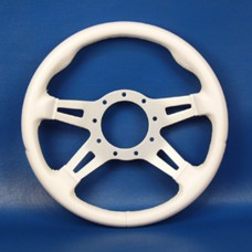 GRANT 9 BOLT STEERING WHEEL WHITE COVER/ SILVER SLOTTED SPOKES
