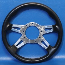 GRANT 9 BOLT STEERING WHEEL BLACK COVER/POLISHED SLOTTED SPOKES