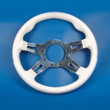 GRANT 9 BOLT STEERING WHEEL WHITE COVER/POLISHED SLOTTED SPOKES