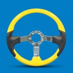 STEERING WHEEL WITH FITTED GRIP-YELLOW