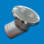 """BILLET ALUMINUM FLUSH MOUNT WASTE FILL NON-VENTED 2"""" HOSE WITH AN ANGLED BASE"""