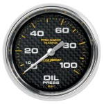 "OIL PRESSURE MECHANICAL 100PSI 2-5/8"" CARBON FIBER"