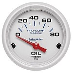 "OIL PRESSURE  80 PSI 2-1/16"" WHITE"