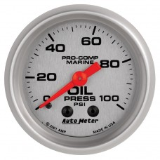 """OIL PRESSURE MECHICAL 100 PSI 2-1/16""""SILVER"""