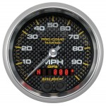 "GPS HP SPEEDOMETER WITH DISPLAY 100MPH 3-3/8"" CARBON FIBER"