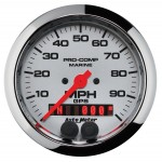 "GPS HP SPEEDOMETER WITH DISPLAY 100MPH 3-3/8"" PLATINUM"