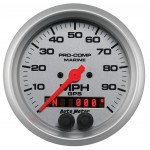 """GPS HP SPEEDOMETER WITH DISPLAY 100MPH 3-3/8"""" SILVER"""