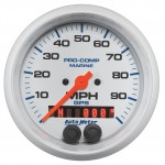"GPS HP SPEEDOMETER WITH DISPLAY 100MPH 3-3/8"" WHITE"