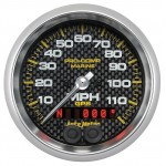 """GPS HP SPEEDOMETER WITH DISPLAY 120MPH 3-3/8"""" CARBON FIBER"""