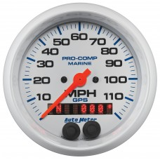 """GPS HP SPEEDOMETER WITH DISPLAY 120MPH 3-3/8"""" WHITE"""