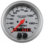"""GPS HP SPEEDOMETER WITH DISPLAY 140MPH 3-3/8"""" SILVER"""