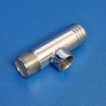"""STAINLESS STEEL TEE FITTING 1 1/4"""" HOSE X 1"""" NPT WITH 1/2"""" NPT BUNG"""