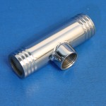"""STAINLESS STEEL TEE FITTING 1 1/4"""" HOSE WITH 1/2"""" NPT BUNG"""