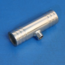 """STAINLESS STEEL TEE FITTING 1 1/4"""" HOSE X 1 1/4"""" HOSE WITH 1/8"""" NPT BUNG"""
