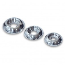 "BILLET ALUMINUM PLAIN ACCENT BUTTONHEAD WASHERS  1/4"" POLISHED FINISH"