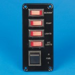 SWITCH PANEL- FOUR SINGLE POLE SWITCHES W/ ONE DOUBLE POLE SWITCH