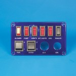 SWITCH PANEL- SIX SINGLE POLE SWITCHES W/ TWO DOUBLE POLE SWITCHES W/ IGNITION SWITCH