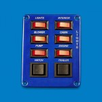 SWITCH PANEL- SIX SINGLE POLE SWITCHES W/ TWO DOUBLE POLE SWITCHES